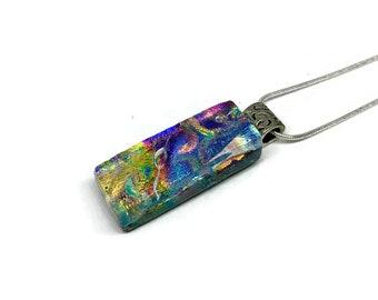 Dichroic glass jewelry, Dichroic glass, Dichroic Glass Pendant, Fused Glass Jewelry, Dichroic glass Necklace, glass jewelry, Dichroic Glass