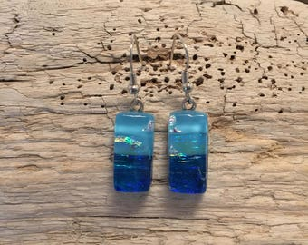 Dichroic glass,Dichroic glass jewelry,fused glass earrings, handmade dichroic glass, dichroic glass earrings, Dichroic Glass Dangle earrings