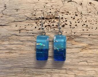 glass earrings, Dichroic glass jewelry, fused glass earrings, drop earrings, dichroic glass earrings, Dangle earrings
