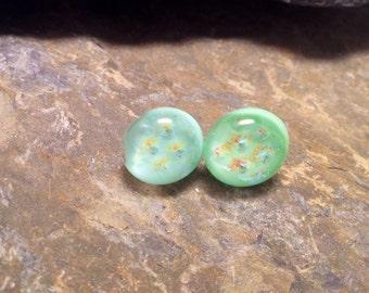 Dichroic Glass stud earrings, fused glass earring, dichroic glass handmade