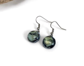 fused glass earrings, dichroic glass earrings, glass earrings, glass jewelry, dangle earrings, dichroic glass jewelry, dangles earrings
