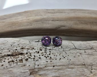 Dichroic glass, dichroic glass jewelry, fused glass, handmade dichroic glass, handmade fused glass, glass studs,Dichroic Glass Stud earrings
