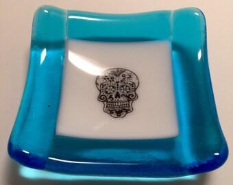 Fused glass dish, handmade fused glass dish, glass dish, ring dish, tea bag dish, candy dish, decorative dish, fused glass plate