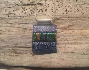 Glass pendant, glass necklace, Dichroic glass pendant, dichroic glass jewelry, dichroic glass, fused glass necklace, fused glass jewelry