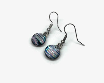 Dichroic glass Jewelry, Dichroic glass earrings, fused glass earrings, Fused glass jewelry, Glass earrings, glass jewelry, dangle earring