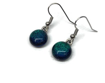 fused glass earrings, dichroic glass earrings, fused glass jewelry, dichroic glass jewelry, Glass earrings, glass Jewelry, Glass
