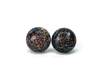 Dichroic Glass studs, fused glass earrings, handmade dichroic glass, glass studs, dichroic glass stud earrings, glass,  Stud earrings