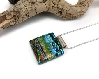 Glass Jewelry, Dichroic glass pendant, glass necklace, Glass Pendant, fused Glass Jewelry, handmade dichroic glass, fused glass pendant