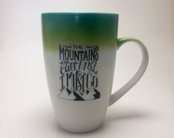 Coffee mug, hand painted porcelain mug, coffee mug, gift, painted, cup, ceramic mug, mountain themed mug, handmade mug, home decor, tea mug