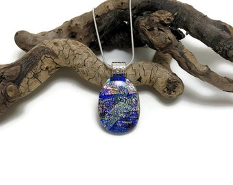 Dichroic Glass Necklace, glass pendant, glass necklace, Fused Glass Jewelry, Fused glass pendant, glass Necklace, Dichroic Glass, glass