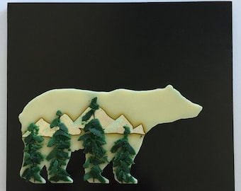 glass art, fused glass art, fused glass wall panel, Fused Glass art, handmade fused glass panel, fused glass wall art, mountain, bear