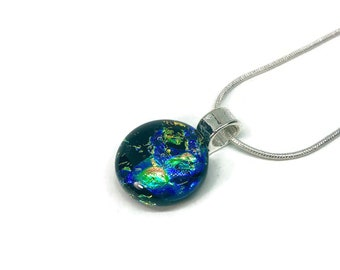Dichroic glass jewelry, Pendant glass, Dichroic Glass Pendant, Fused Glass Jewelry, Dichroic glass Necklace, glass necklace, Glass jewelry