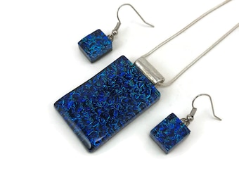 Jewelry set, glass pendant and earring set, dichroic glass jewelry, dichroic glass, fused glass, handmade fused glass, glass jewelry