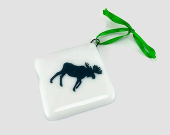 Fused glass, ornament, moose, glass, handmade, home decor,handmade glass ornament, handmade fused glass, ornament, Christmas ornament