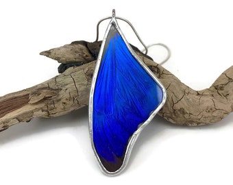 Real Butterfly necklace, glass pendant, handmade butterfly pendant, real butterfly pendant, butterfly wing Necklace, Blue Morpho Pendant