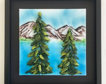 Fused glass art, handmade, mountains, fused glass wall panel, Glass art, fused glass wall art, glass trees, home decor, glass wall art