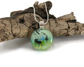 Dichroic glass jewelry, Dichroic glass, Dichroic Glass Pendant, Fused Glass Jewelry, Dichroic glass Necklace, moose necklace, Dichroic Glass