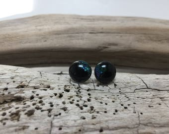 Glass stud earrings, dichroic glass studs, fused glass studs, glass earrings, handmade fused glass, glass , Dichroic Glass Stud earrings