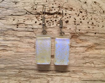 Glass earrings, dichroic glass earrings, handmade fused glass, glass, glass jewelry, dangle earrings, dichroic glass jewelry, earrings