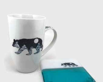 Fused glass, Ceramic mug, coffee mug, glass coaster, glass coaster, glass, bear themed mug, mug, home decor, tea mug, fused glass coaster
