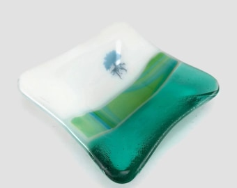 Fused glass, plate, tree of life, handmade glass dish, tea bag holder, decor, jewelry dish, candy dish, spoonrest, dish, fused glass plate