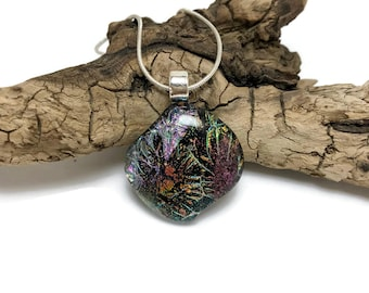 Fused glass pendant, necklace, Dichroic Glass Pendant, dichroic glass, Fused Glass Jewelry, handmade dichroic glass, glass pendant, glass