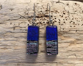 Dichroic glass jewelry, dichroic glass earrings, glass earrings, fused glass jewelry, fused glass earrings, Glass jewelry, glass