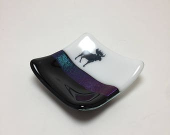 Fused glass plate, moose plate, handmade glass dish, themed dish, home decor, jewelry dish, candy dish, spoonrest, dish, fused glass plate