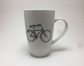 porcelain mug, hand painted porcelain mug, coffee mug, gift, painted, cup, ceramic mug, bike themed mug, handmade mug, home decor, tea mug