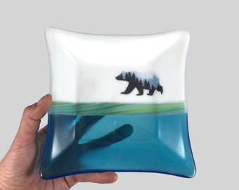 Fused glass plate, bear dish, handmade glass dish, dish, art, home decor, jewelry dish, candy dish, spoonrest, dish, fused glass plate