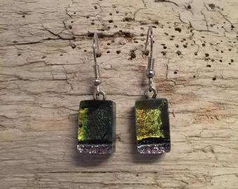 Dichroic glass jewelry, fused glass earrings, glass earrings, dichroic glass earrings, glass jewelry, Dangle earrings, glass drop earrings