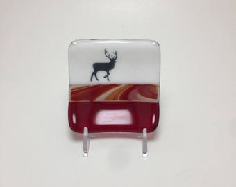 Fused glass plate, home decor, handmade glass dish, dish, elk plate, decor, jewelry dish, candy dish, spoonrest, dish, tea bag plate