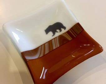 Home decor, Fused glass dish, bear, mountains, handmade glass dish, glass dish, nature, art, candy dish, decorative dish, fused glass plate