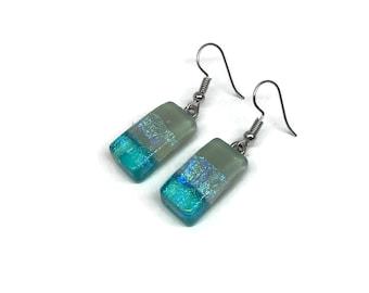 Glass earrings, dichroic glass earrings, handmade fused glass, glass, glass jewelry, dangle earrings, dichroic glass jewelry, earrings