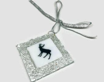 Fused glass ornament, glass art, Christmas ornament,  home decor, Christmas decoration, glass ornament, Christmas ornament, sun catcher