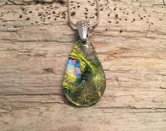 Glass Jewelry, Dichroic glass pendant, Dichroic glass necklace, Dichroic Glass jewelry, Fused Glass Jewelry, glass necklace, glass pendant