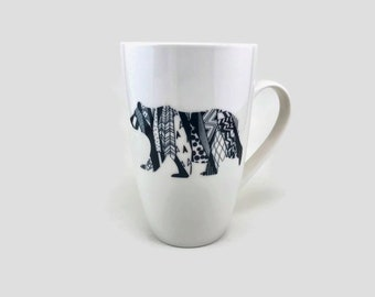 Coffee mug, bear mug, porcelain cup, mug, coffee cup, ceramic mug, bear themed mug, handmade mug, home decor, tea mug