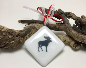 Fused glass, mountains, moose, handmade, art, home decor,handmade fused glass ornament, handmade fused glass, ornament, Christmas ornament