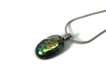 Fused Glass Jewelry, Dichroic glass pendant, glass pendant, dichroic glass jewelry, dichroic glass necklace, fused glass necklace, glass