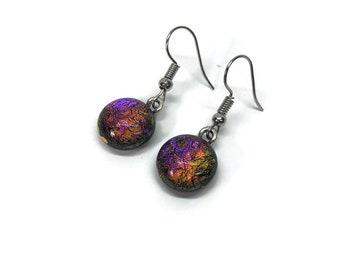 Glass jewelry, dichroic glass earrings, fused glass earrings, glass earrings, dichroic glass earrings, dangle earrings