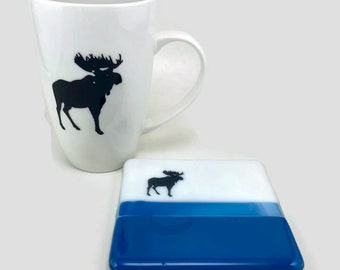 Fused glass, Ceramic mug, coffee mug, glass coaster, glass coaster, glass, moose mug, handmade mug, home decor, tea mug, fused glass coaster