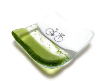 Fused glass plate, road bike, handmade glass dish, bike plate, art, home decor, jewelry dish, candy dish, spoonrest, dish, fused glass plate
