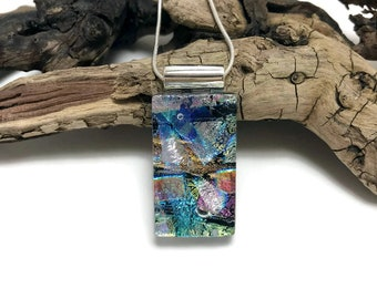 Dichroic glass pendant, necklace, glass jewelry, Glass Pendant, Fused Glass Jewelry, handmade dichroic glass, glass pendant, glass