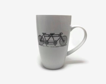porcelain, hand painted porcelain mug, coffee mug, gift, painted, cup, ceramic mug, bike themed mug, handmade mug, home decor, tea mug