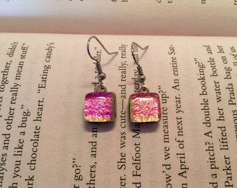 glass earrings, dichroic glass earrings, Dichroic Glass jewelry, glass jewelry, fused glass jewelry, handmade dichroic glass, Dangle earring