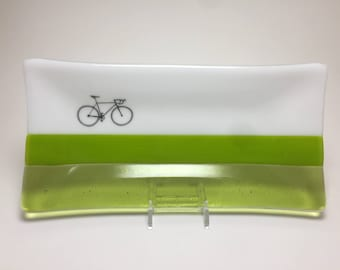 Fused glass plate, road bike dish, handmade glass dish, dish, art, home decor, jewelry dish, candy dish, spoonrest, dish, fused glass plate