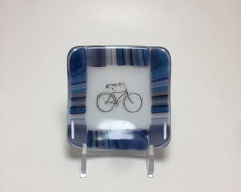 Fused glass, bike plate,  bike, handmade glass dish, dish, art, home decor, jewelry dish, candy dish, spoonrest, dish, fused glass plate