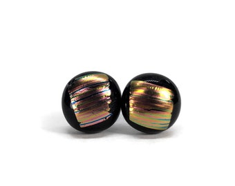 Dichroic glass studs, glass studs, fused glass jewelry, fused glass earrings, Glass Earrings, Fused Glass Earrings, Glass Jewelry, glass