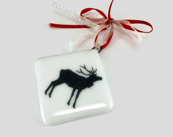 Fused glass, ornament, Elk, glass, handmade, art, home decor,handmade glass ornament, handmade fused glass, ornament, Christmas ornament