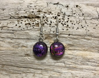 Glass jewelry, glass earrings, dangle earrings, fused glass earrings, dichroic glass earrings, fused glass earrings, Dichroic Glass earrings